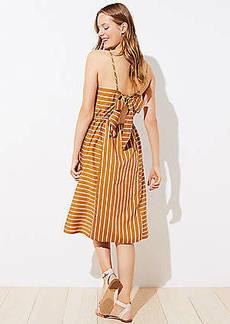 LOFT Beach Striped Bow Back Dress