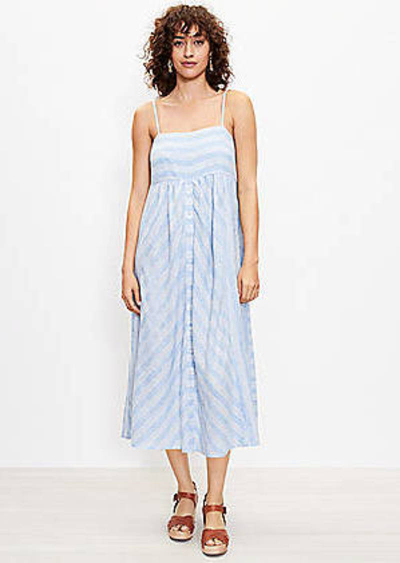 LOFT Beach Striped Button Midi Dress