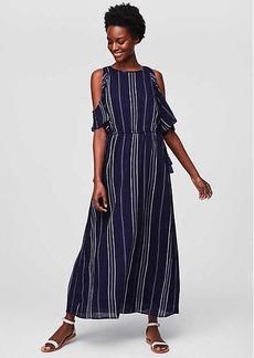 LOFT Beach Striped Cold Shoulder Dress