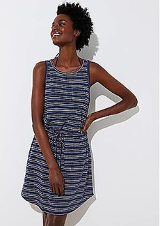 LOFT Beach Striped Cutout Drawstring Dress