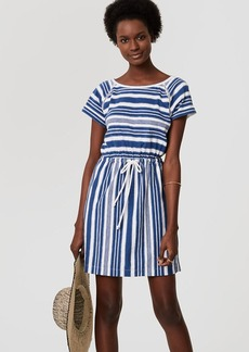 LOFT Beach Striped Cutout Drawstring Tee Dress