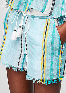 LOFT Beach Striped Frayed Drawstring Shorts