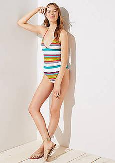 LOFT Beach Striped Halter One Piece Swimsuit