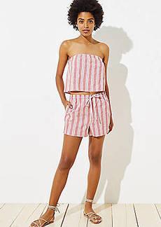 LOFT Beach Striped High Waist Drawstring Shorts
