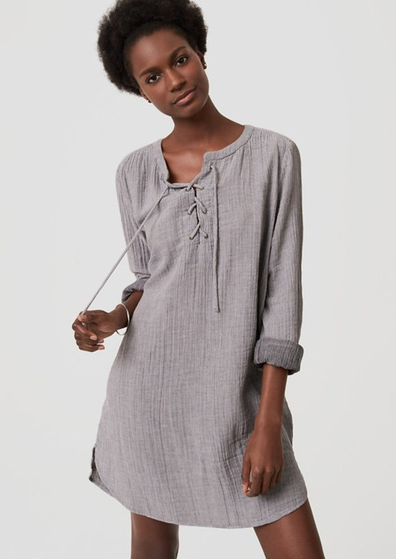 0d2ac33381381 LOFT LOFT Beach Striped Lace Up Shirtdress