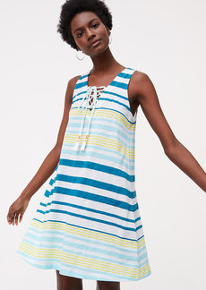 LOFT Beach Striped Lace Up Swing Dress