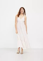 LOFT Beach Striped Ruched Strap Maxi Dress
