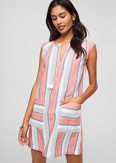 LOFT Beach Striped Split Neck Dress
