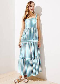 LOFT Beach Striped Square Neck Maxi Dress