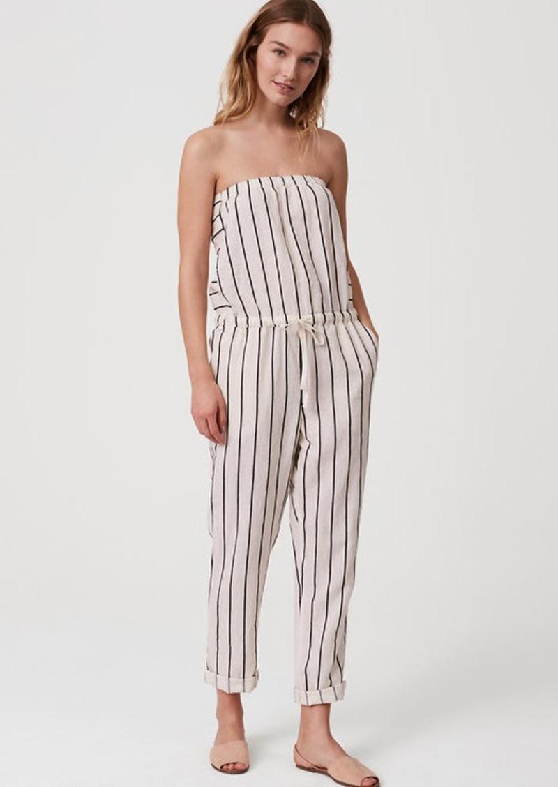 new lifestyle novel style pretty nice LOFT LOFT Beach Striped Strapless Jumpsuit