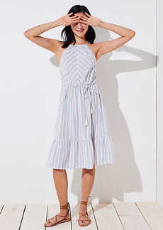 LOFT Beach Striped Tassel Tie Halter Dress