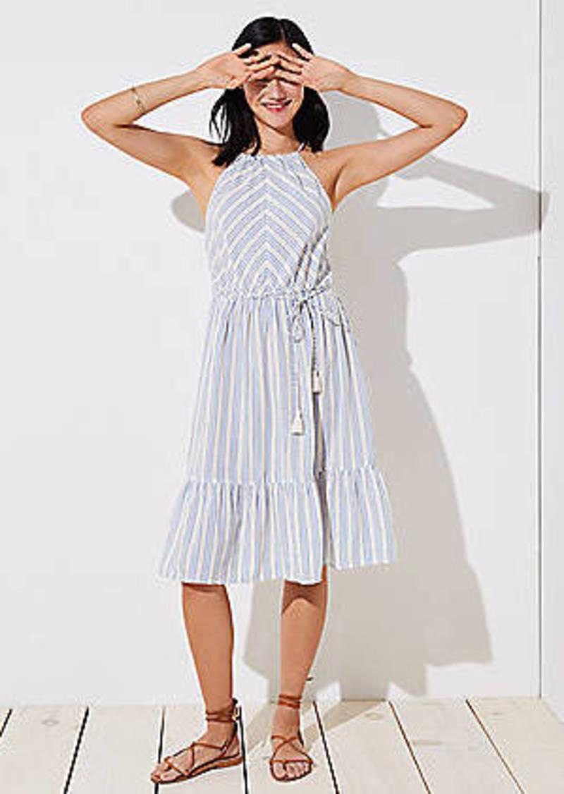 LOFT Beach Striped Tassel Tie Halter Dress