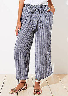 LOFT Beach Striped Tie Waist Wide Leg Pants