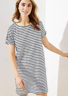 LOFT Beach Striped Twist Tee Dress