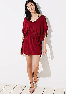 LOFT Beach Tasseled Tie Back Caftan Dress