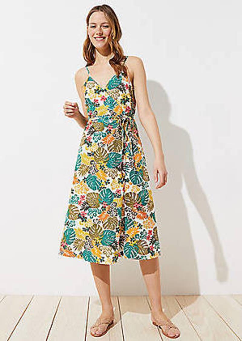 LOFT Beach Tropical Wrap Midi Dress