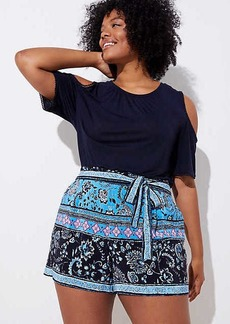 LOFT Plus Border Floral Tie Waist Fluid Shorts