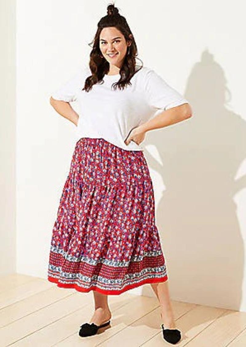 LOFT Plus Border Floral Tiered Midi Skirt