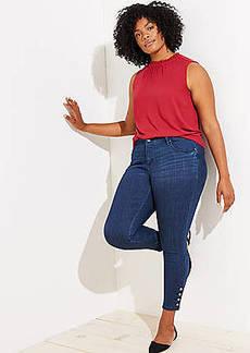 LOFT Plus Button Cuff Skinny Jeans in Rich Mid Indigo Wash
