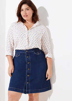 LOFT Plus Button Denim Skirt