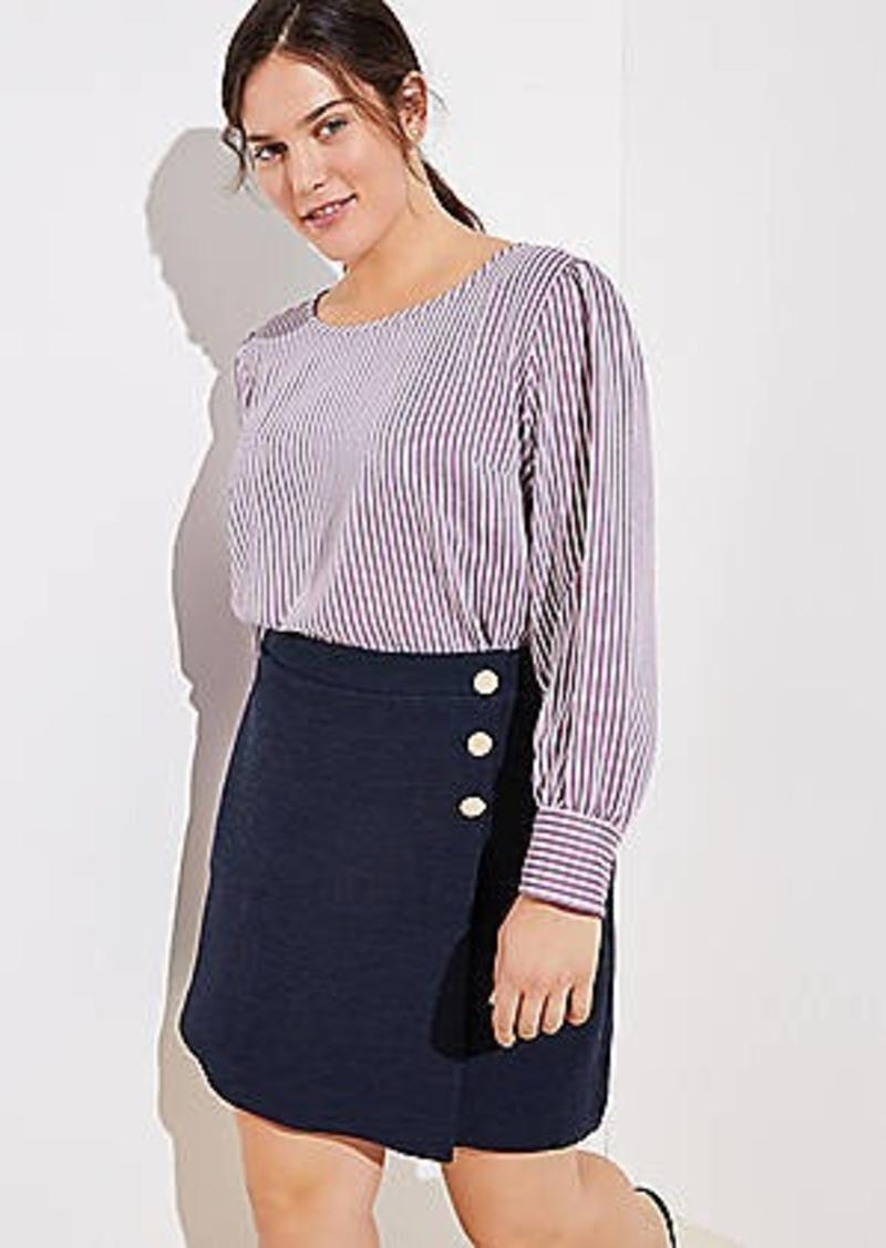 LOFT Plus Button Wrap Skirt