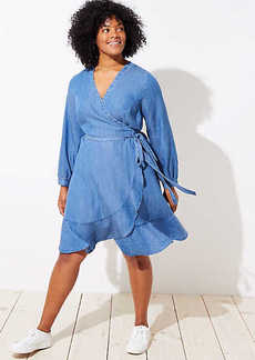 LOFT Plus Chambray Ruffle Wrap Dress