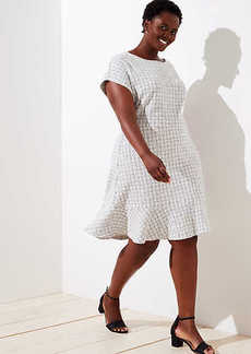 LOFT Plus Checked Jacquard Flare Dress