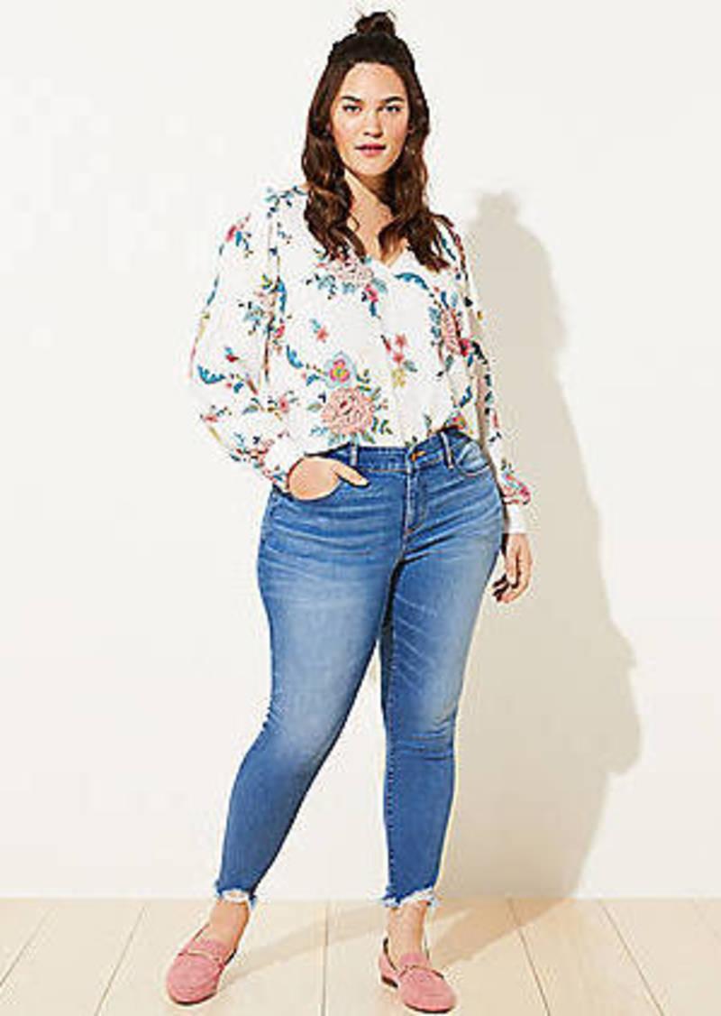 LOFT Plus Chewed Hem Slim Pocket Skinny Crop Jeans in Botanic Blue Wash