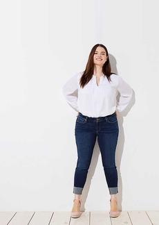 LOFT Plus Cuffed Skinny Crop Jeans in Dark Classic Indigo Wash