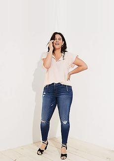 LOFT Plus Modern Slim Pocket Skinny Jeans in Mid Indigo Wash