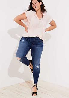 LOFT Plus Distressed Skinny Jeans in Mid Indigo Wash