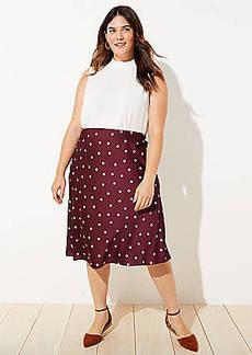 LOFT Plus Dotted Pull On Midi Skirt