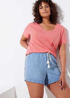 LOFT Plus Embroidered Cotton Linen Denim Drawstring Shorts