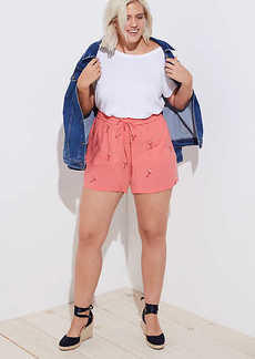 LOFT Plus Embroidered Flamingo Fluid Drawstring Shorts