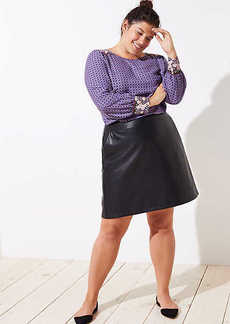 LOFT Plus Faux Leather Pocket Skirt