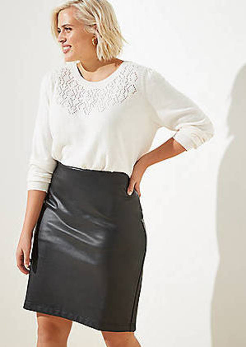 LOFT Plus Faux Leather Pull On Pencil Skirt