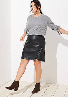 LOFT Plus Faux Leather Wrap Skirt