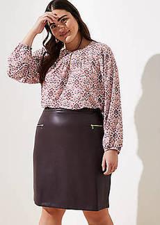 LOFT Plus Faux Leather Zip Pocket Pencil Skirt