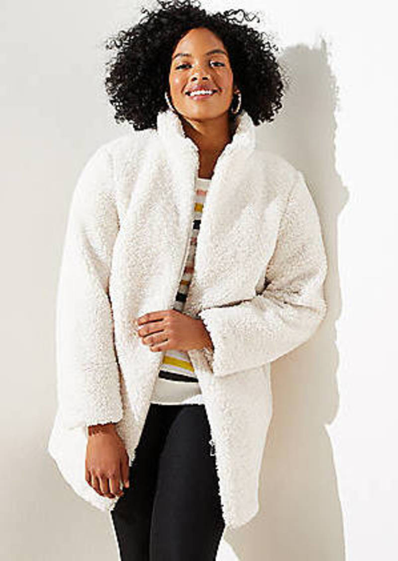 LOFT Plus Faux Sherpa Funnel Neck Coat