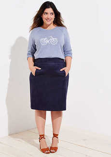 LOFT Plus Faux Suede Pencil Skirt