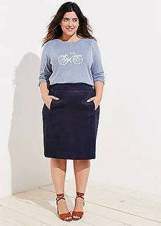 LOFT Plus Faux Suede Pencil Skirt