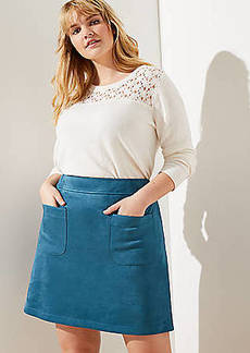 LOFT Plus Faux Suede Pocket Shift Skirt