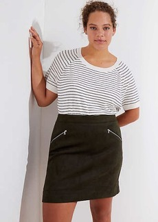 LOFT Plus Faux Suede Zip Skirt