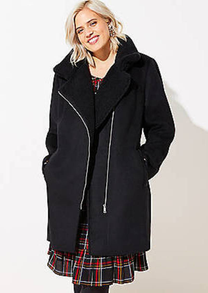 LOFT Plus Fleece Trim Moto Coat