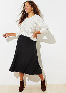 LOFT Plus Flared Pull On Midi Skirt