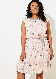LOFT Plus Floral Clip Dot Flounce Dress