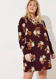 LOFT Plus Floral Cuffed Shift Dress