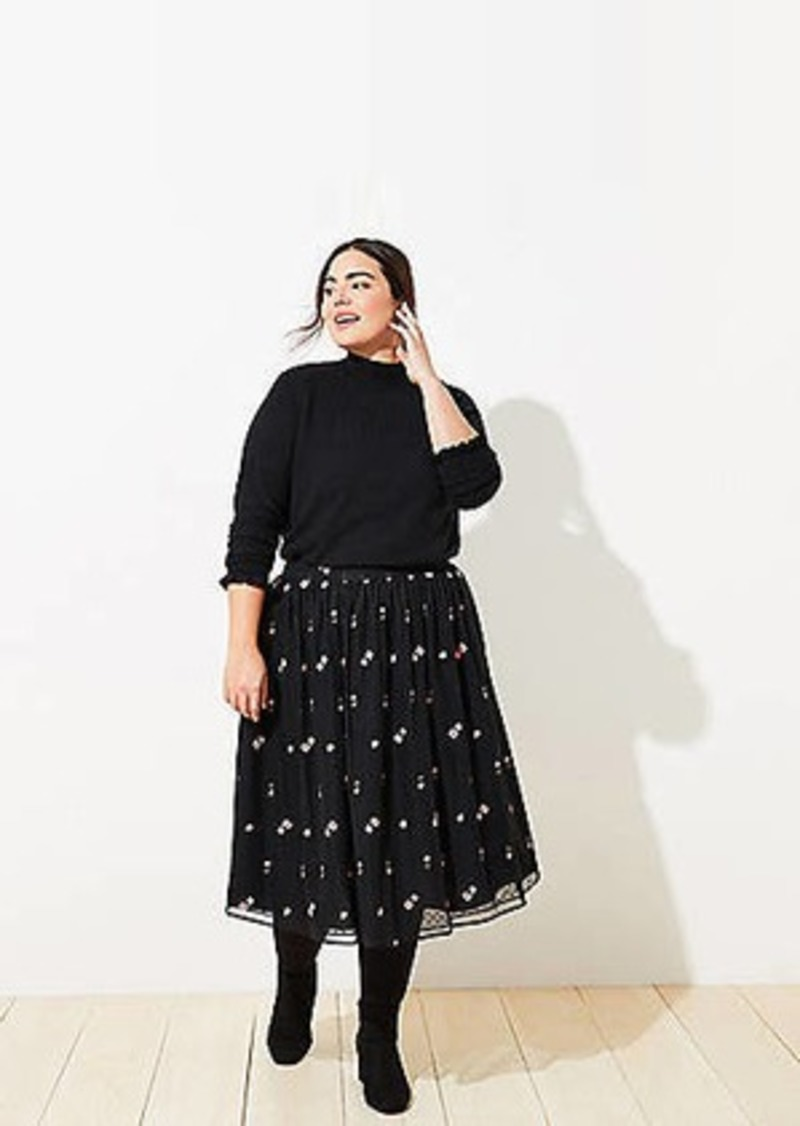 LOFT Plus Floral Embroidered Tulle Skirt