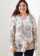 LOFT Plus Floral Peplum Sweater
