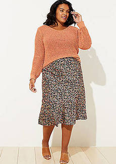 LOFT Plus Floral Pull On Midi Skirt